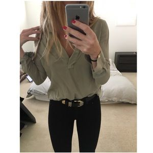 James Perse khaki green blouse NWOT size 0